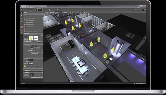notebook s programem Dialux pro výpočet intenzity osvětlení